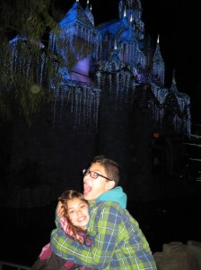 The Girl and Boy in front of Sleeping Beauty's Castle