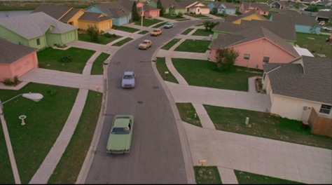 Pastel houses from Edward Scissorhands